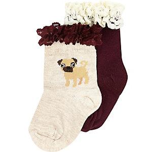 Mini girls purple pug socks pack
