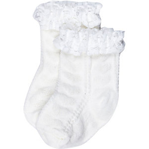 Mini girls white frilly socks pack