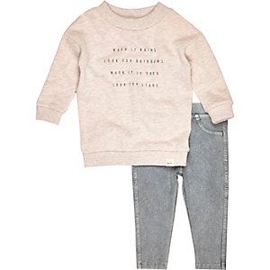 Mini girls pink sweater and leggings outfit