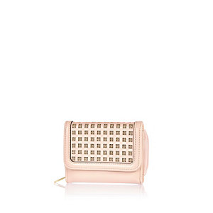 Girls pink metallic grid purse