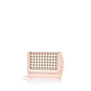 Girls pink metallic grid purse