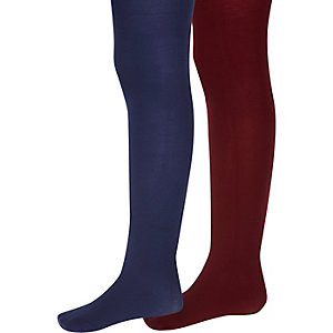 Girls navy and red tights pack