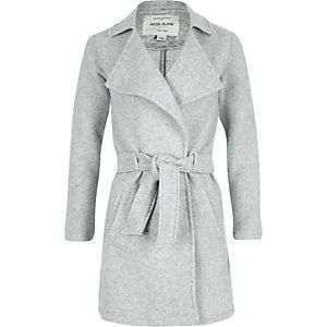 Grey smart belted coat
