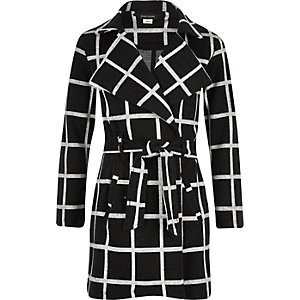 Black checked belted coat