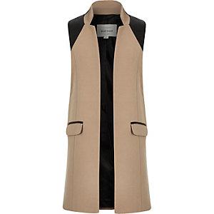Girls camel brown sleeveless jacket