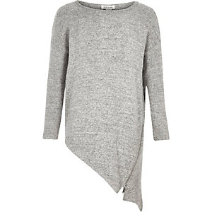 Girls light grey asymmetric zip top