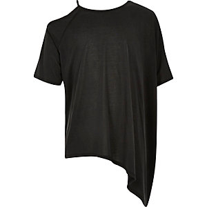 Girls black asymmetric top