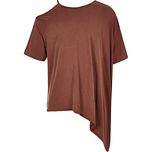 Girls rust brown asymmetric top