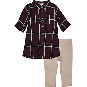 Mini girls check shirt and leggings outfit