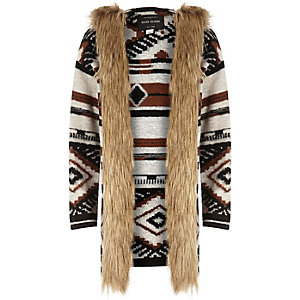 Girls brown geometric faux fur trim jacket