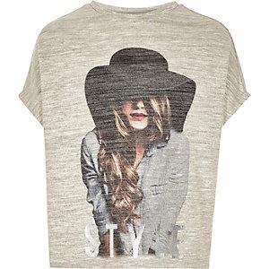 Girls gold metallic style print t-shirt