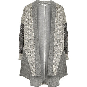 Girls grey colour block cocoon cardigan
