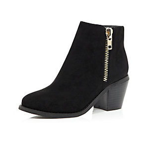 Girls black zip trim ankle boots