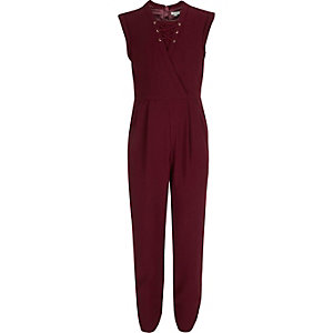 Girls red lace-up jumpsuit