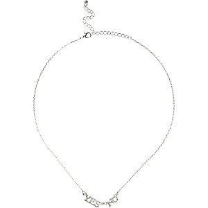 Girls silver tone yes no necklace