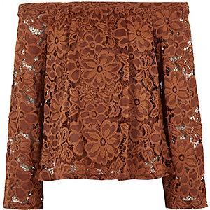 Girls rust brown lace bardot top