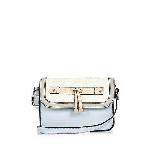 Girls blue cross body handbag