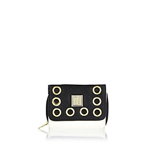 Girls black eyelet purse