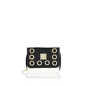 Girls black eyelet purse