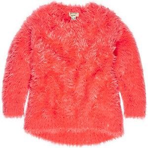 Mini girls bright orange super soft sweater