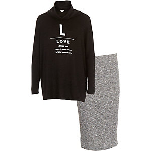 Girls black cowl neck jumper skirt outfit