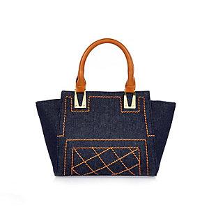Girls blue denim winged tote handbag