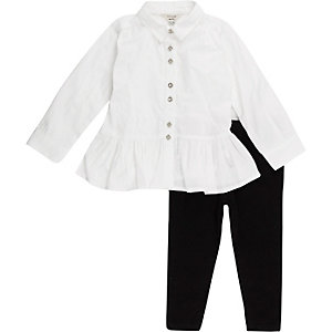 Mini girls white peplum shirt leggings outfit