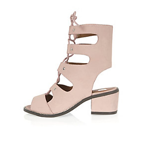 Girls pink lace-up block heels