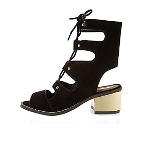 Girls black lace-up block heel shoes