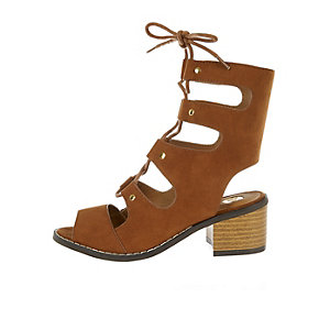 Girls brown lace-up block heel shoes