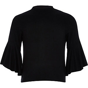 Girls black fluted sleeve top