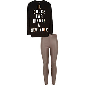 Girls black slogan sweatshirt leggings outfit