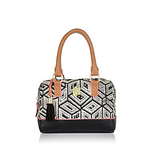 Girls black geometric bowler handbag