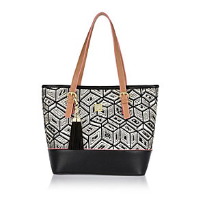 Girls black geometric shopper handbag