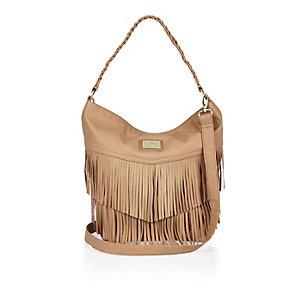 Girls brown fringed slouchy handbag