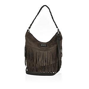 Girls dark green fringed slouchy handbag