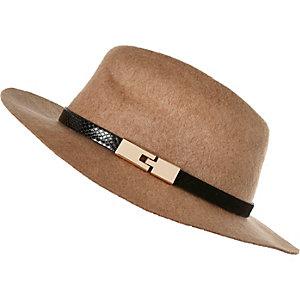 Girls brown felt fedora hat