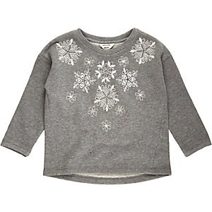 Mini girls grey snowflake top