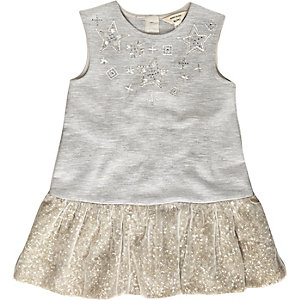 Mini girls grey embellished party shift dress
