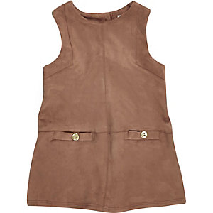 Mini girls brown faux-suede shift dress