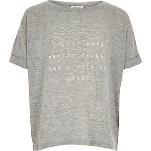 Girls grey slogan print t-shirt