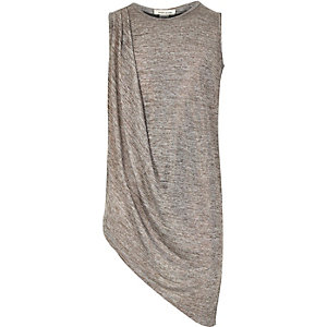 Girls bronze metallic draped asymmetric top