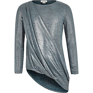 Girls blue metallic wrap asymmetric top