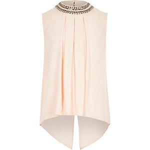 Girls pink embellished neck shirt