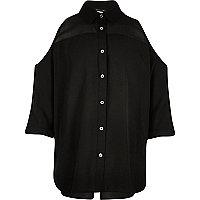 Girls black cold shoulder slit back shirt