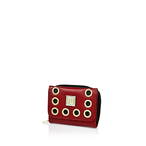 Girls red eyelet purse