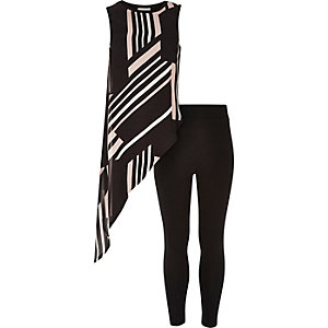 Girls black asymmetric top leggings outfit
