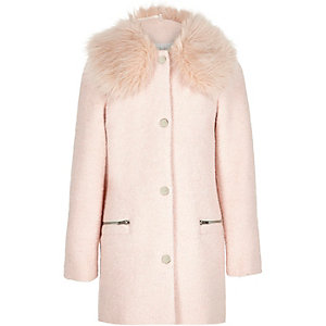 Girls pink faux fur trim coat