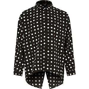 Girls black daisy print open back shirt