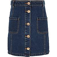 Girls blue denim button-up skirt
